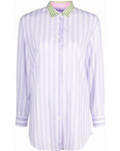 Белая рубашка в полоску с воротником Mc2 Saint Barth