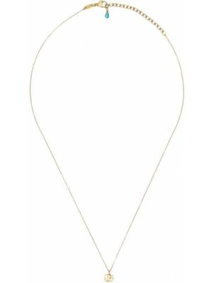 Ażurowy niebieski złoty naszyjnik Gucci