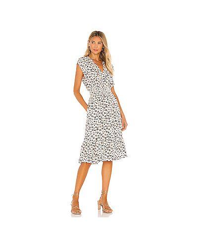 Бежевое шелковое платье с разрезом с подкладкой Rails