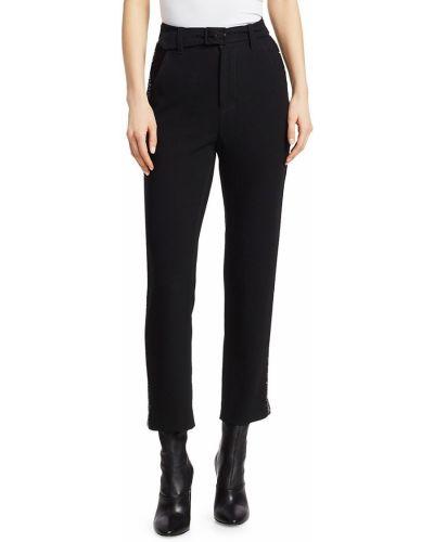 Черные брюки в полоску с накладными карманами Derek Lam