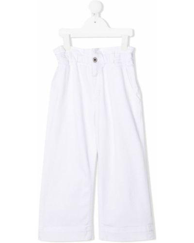 Белые брюки с карманами свободного кроя Dondup Kids