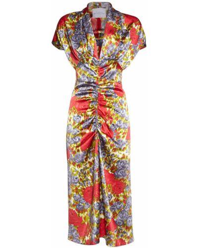 Сатиновое платье миди с оборками Luisa Beccaria