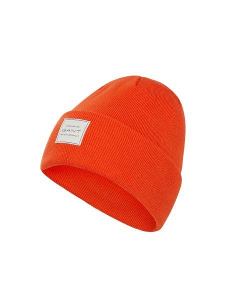 Prążkowana pomarańczowa czapka bawełniana Gant