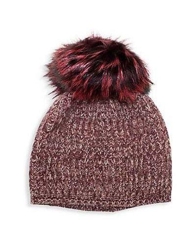 Розовая шапка бини из чернобурки Portolano