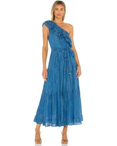 Синее хлопковое платье макси с бисером Karina Grimaldi