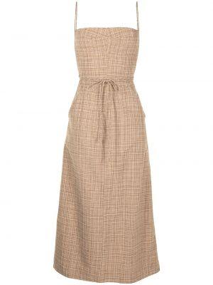 Хлопковое платье миди - коричневое Christopher Esber