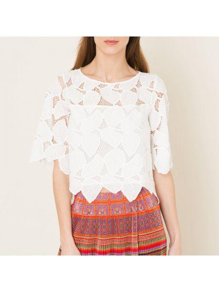 Белая ажурная блузка свободного кроя с вырезом Valerie Khalfon