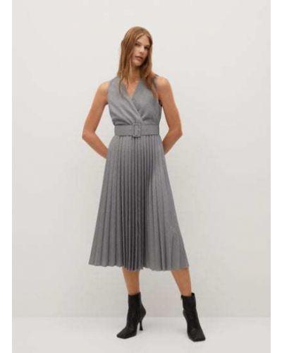 Серое платье миди с поясом без рукавов Mango