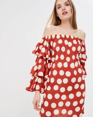 Платье с открытыми плечами красный Luli Fama