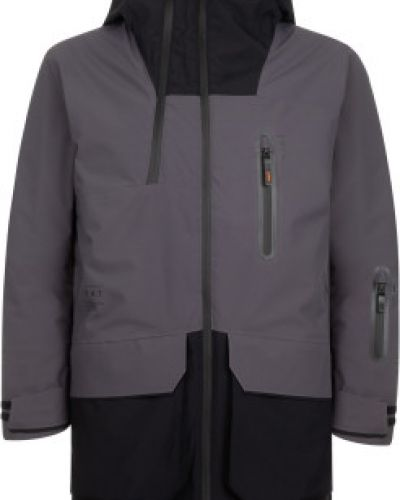 Утепленная серая длинная куртка на молнии Termit