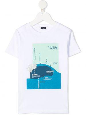 Трикотажная белая футболка с вырезом Il Gufo