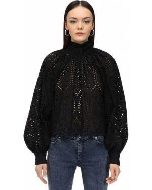 Блузка с длинным рукавом кружевная с воротником-стойкой Ganni