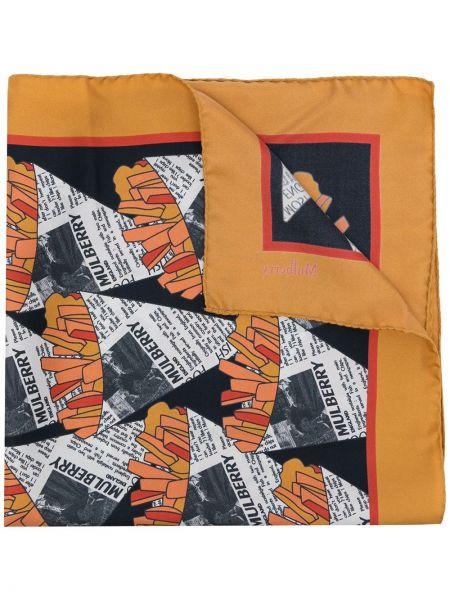 Żółty szalik z jedwabiu z printem Mulberry
