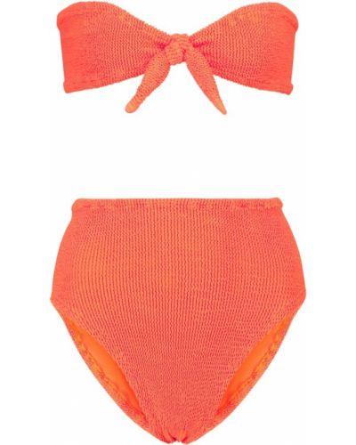 Оранжевый нейлоновый бикини Hunza G