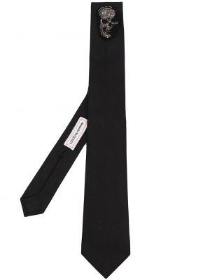 Черный галстук с черепами металлический Alexander Mcqueen