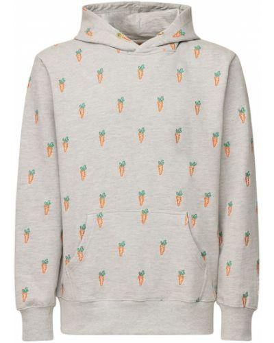 Bluza z kapturem bawełniana z printem Carrots