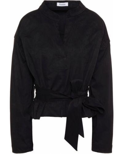 Czarna bluzka z paskiem zamszowa Rodebjer
