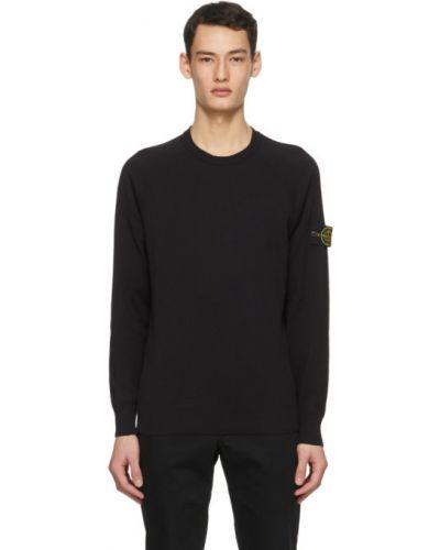 Черный длинный свитер с воротником с вышивкой Stone Island