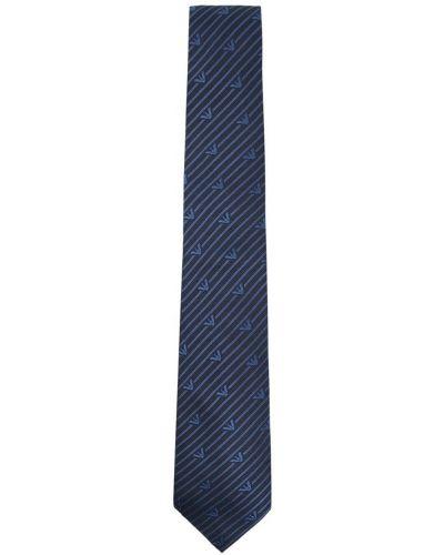 Шелковый синий галстук с вышивкой Emporio Armani Kids