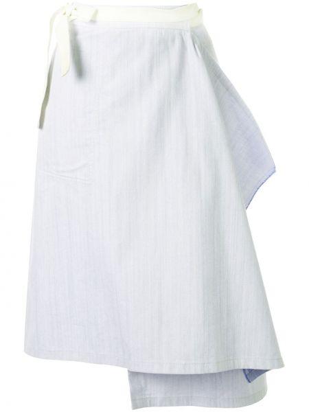 Синяя с завышенной талией юбка миди в рубчик с поясом Nehera