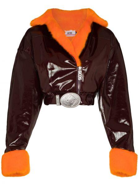 Красная короткая куртка с капюшоном байкерская Gcds