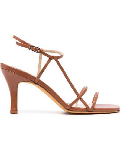 Brązowe sandały skorzane klamry Maryam Nassir Zadeh