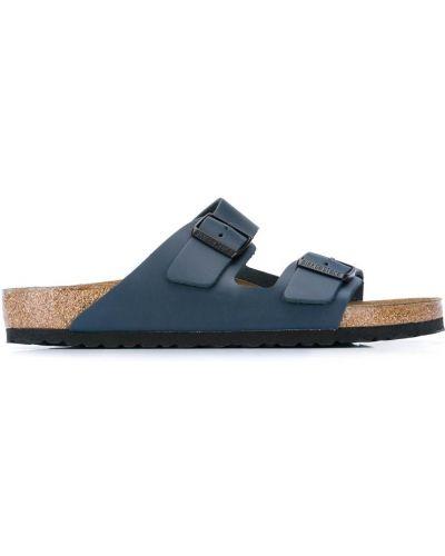 Otwarty niebieski skórzany sandały z klamrą Birkenstock