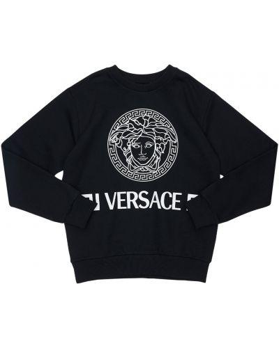 Bawełna czarny bluza z kołnierzem Versace