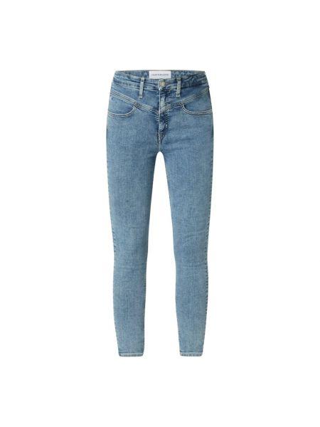 Bawełna niebieski jeansy na wysokości z kieszeniami chudy Calvin Klein Jeans