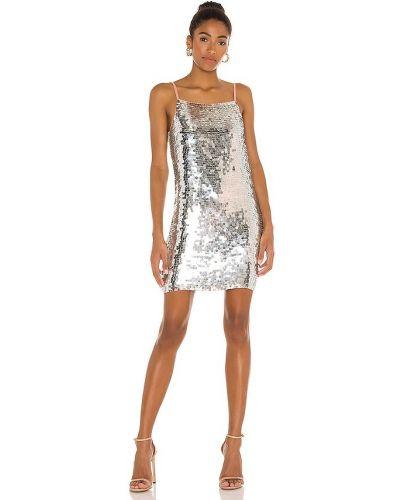 Серебряное платье мини с подкладкой на молнии Karina Grimaldi