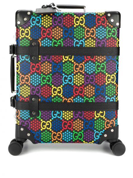 Skórzany czarny walizka Gucci