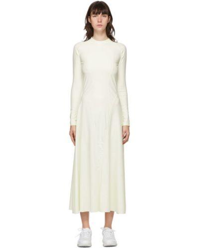 Белое нейлоновое платье макси с длинными рукавами с воротником Gmbh