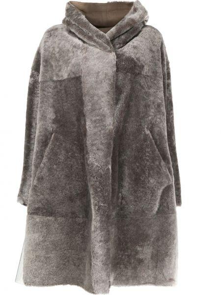 Свободное шерстяное серое пальто с капюшоном оверсайз Sylvie Schimmel