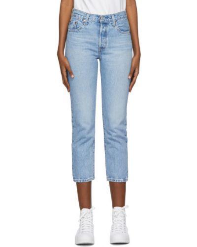 Синие прямые укороченные джинсы с карманами Levi's®