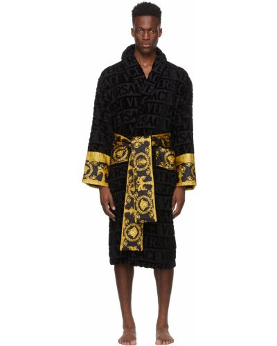 Czarny długi szlafrok bawełniany z długimi rękawami Versace