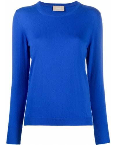 Кашемировый вязаный синий свитер в рубчик Drumohr