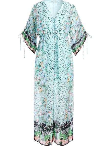 Шелковое расклешенное платье в цветочный принт с короткими рукавами Alice+olivia