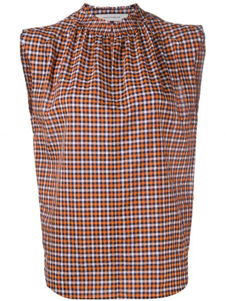Pomarańczowa bluzka bez rękawów z printem Cedric Charlier