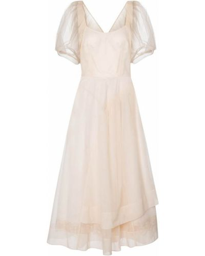 Розовое платье миди из фатина Simone Rocha
