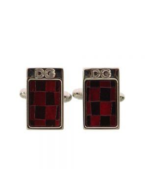 Czerwone spinki do mankietów srebrne Dolce And Gabbana