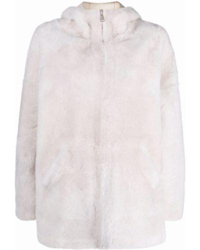 Белое пальто с капюшоном Blancha