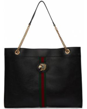 Skórzany czarny torebka na łańcuszku z łatami prążkowany Gucci