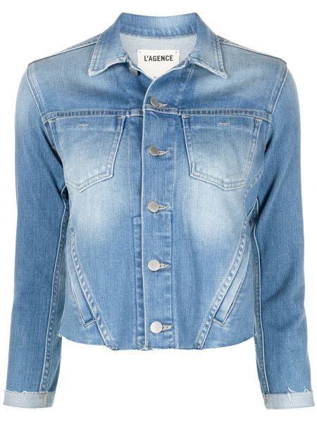 Хлопковая синяя джинсовая куртка с воротником L'agence