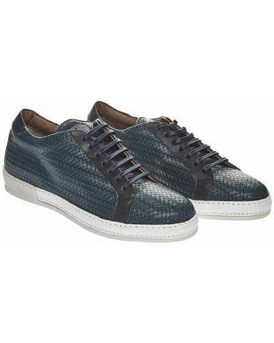 Niebieskie sneakersy skorzane Santoni