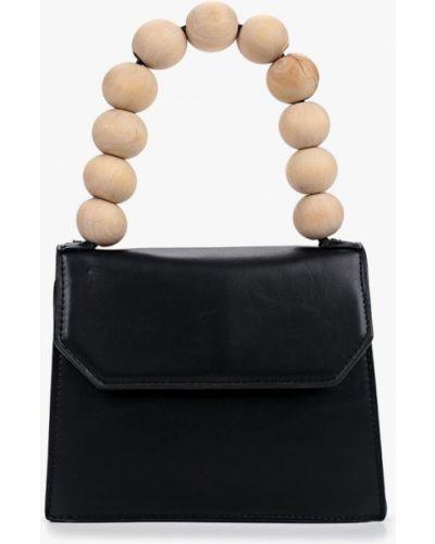 Кожаный сумка с ручками черная Topshop