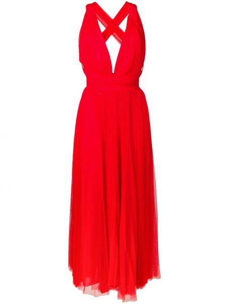 Платье миди с V-образным вырезом с рукавами Maria Lucia Hohan