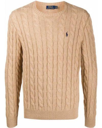 Bawełna brązowy koszulka polo z haftem z długimi rękawami Polo Ralph Lauren