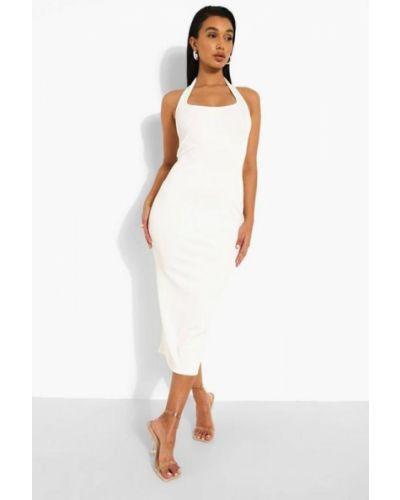 Платье миди в рубчик - белое Boohoo