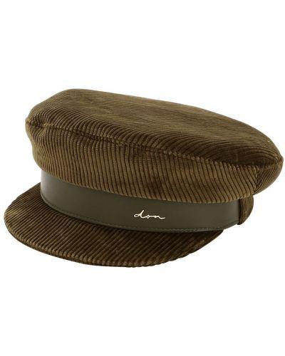 Кожаная зеленая шапка с подкладкой Don