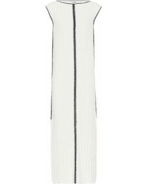 Белое шелковое вязаное платье макси Jil Sander